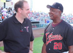 Adam Ehlert with Hall of Fame Second Baseman Frank White Please credit: 2012 File Photo Courtesy of the Kansas City T-Bones/Matthew Hicks.