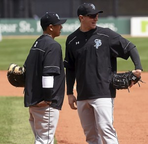 Ian Gac, 29, right, who has been trying to make it to the big leagues ever since he got drafted out of high school, is now playing first base for the Saint Paul Saints, and chatted with infielder Angelo Songco during practice on Tuesday, May 12, 2015. (Pioneer Press: Scott Takushi)