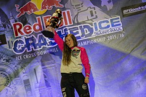 Jacqueline Legere of Canada celebrates during the Award Ceremony of the final stage of the ATSX Ice Cross Downhill World Championship at the Red Bull Crashed Ice in Saint Paul, Minnesota, United States on February 27, 2016.
