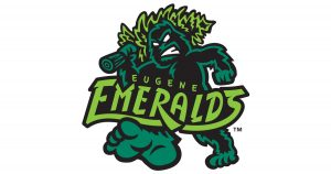 Eugene Emeralds logo, the Hops most frequent visitor on the 2021 schedule
