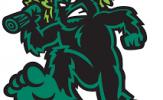 Eugene Emeralds logo - giant Bigfoot carrying a full sized tree