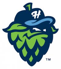 Hops stylized barley corn logo. Sean Roby's two-run homer.