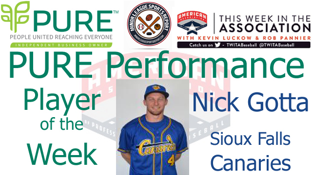 Sioux Falls Canaries Nick Gotta Named PURE Performance Player of the Week