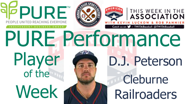 Cleburne Railroaders 1B D.J. Peterson Named PURE Performance Player of the Week