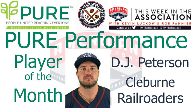 Cleburne Railroaders 1B D.J. Peterson Named PURE Performance Player of the Month for August