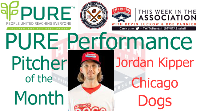 Chicago Dogs RHP Jordan Kipper Named PURE Performance Pitcher of the Month for August