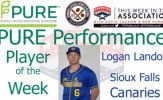 Sioux Falls Canaries Logan Landon Named PURE Performance Player of the Week