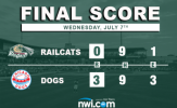 RailCats Bats Silenced in Shutout Loss to Dogs